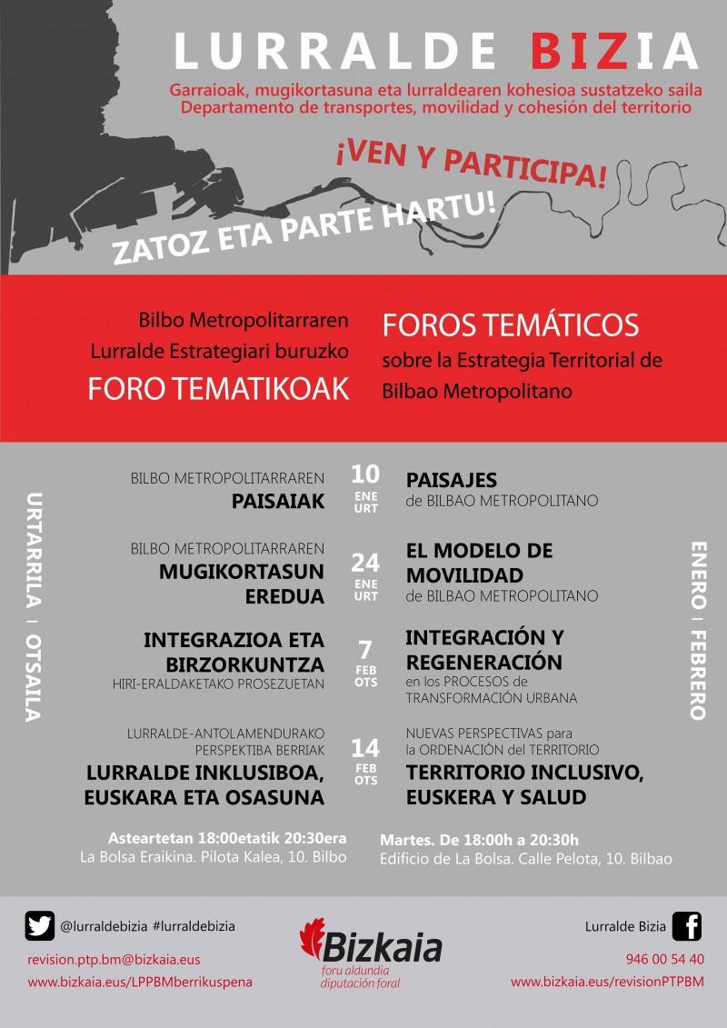REVISIÓN PTP BILBAO METROPOLITANO; FOROS TEMÁTICOS. ENERO Y FEBRERO DE 2017